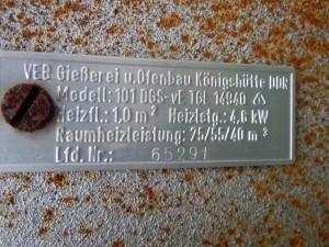 06. Typenschild_Einzelofen VEB Königshütte